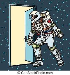 astronauta, porta, abre, espaço