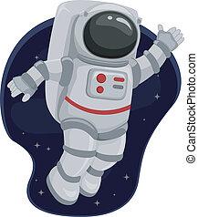 astronauta, przestrzeń, machać