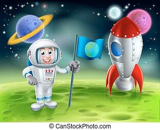 astronauta, rysunek, rakieta, scena