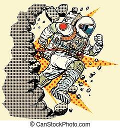 astronauta, se estropea, pared