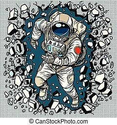 astronauta, se estropea, pared, liderazgo, determinación