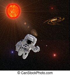 astronauta, sol, estrelas