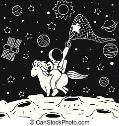 astronauta, unicornio, paseo