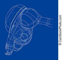 astronauta, vector, concept., interpretación, 3d