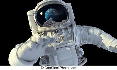 astronauta, w, otwarty, space.