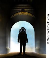 astronauta, wejść, łuk