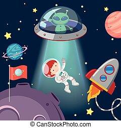 astronauta, y, extranjero, en, galaxia