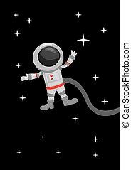 astronauta, zero, zewnętrzny, powaga, przestrzeń