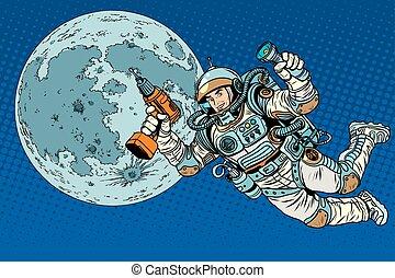 astronaute, à, a, foret, et, lampe électrique, sur, lune