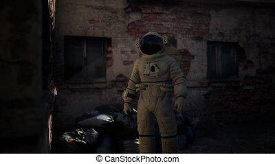 astronaute, abandonnés, vieux, usine, industriel, perdu, bâtiments