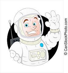 astronaute, caractère, dessin animé