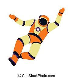 astronaute, caractère, isolé, ou, pression, dessin animé, ...