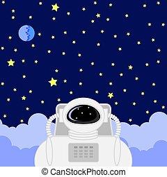 astronaute, ciel, étoilé, fond, icône