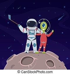 astronaute, concept, selfie., entre, vecteur, étranger, ...