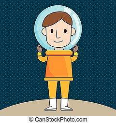 astronaute, dessin animé, illustration