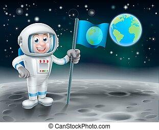 astronaute, dessin animé, lune