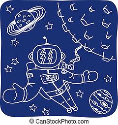 astronaute, dessin, planètes
