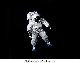 astronaute, espace, flotter, noir