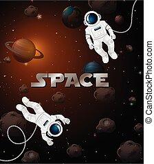 astronaute, espace, scène