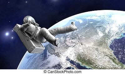 astronaute, flotter, la terre, sur