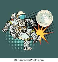 astronaute, football, jeux, lune