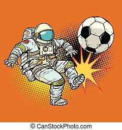 astronaute, football, sport, jouer, football.