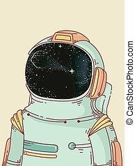 astronaute, homme, extérieur, espace illustration