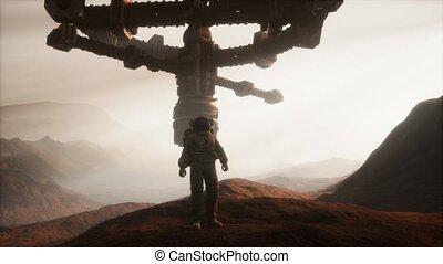 astronaute, planète, marche, mars