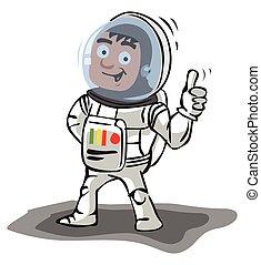 astronaute, pouce haut
