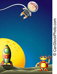 astronaute, robot, outerspace