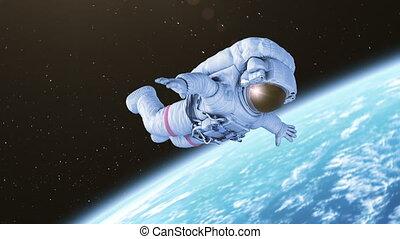astronaute, rotation, espace extérieur