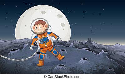astronaute, singe, espace