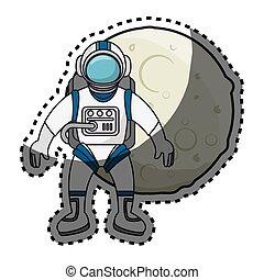 astronaute, système, solaire, lune