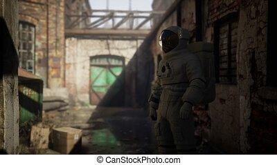 astronaute, usine, abandonnés, industriel, perdu, bâtiments, vieux