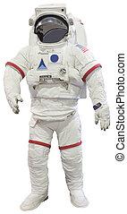 astronauten, isolerat, vit