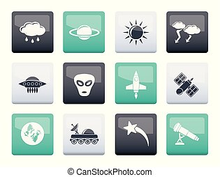 Astronautics and Space and universe Icons over color...