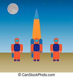 Astronauts and the rocket.