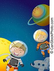 Astronauts exploring the galaxy