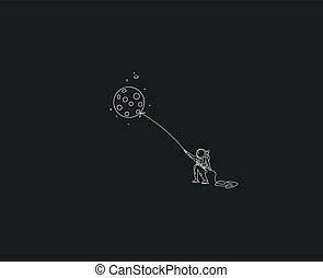 astronauts flying balloon with kite style flat line art vector design illustration clipart vector csp72016258