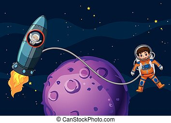 Astronauts flying in the space