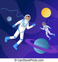 Astronauts in outer space flat illustration. Two cosmonauts in spacesuits floating in cosmos zero gravity cartoon vector characters. Interstellar travel, adventure, space exploration
