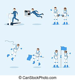 Astronauts in spacesuits flat illustrations set. Male and female cosmonauts training, space mission isolated cliparts pack. Universe explorers floating in zero gravity vector characters