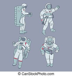 Astronauts in spacesuits. Spacemen, cosmonauts with space equipment vector cartoon illustration.