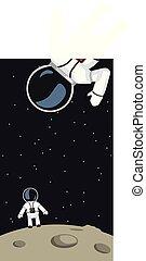astronauts on moon surface