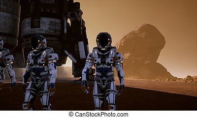 Astronauts walk on the surface of Mars after landing in a rocket. Panoramic landscape on the surface of Mars.