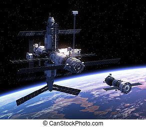 astronave, stazione, spazio