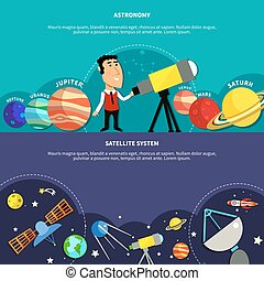 astronomía, banderas, conjunto