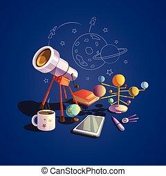 astronomía, caricatura, conjunto