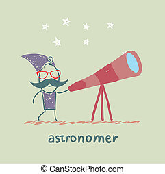 astronomer looking through a telescope