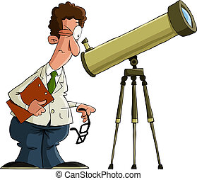 Astronomer on a white background, vector illustration